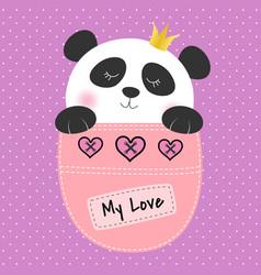 panda princess sitting in a pocket vector image