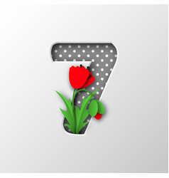 paper cut number 7 with poppy flowers vector image