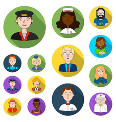 People of different professions flat icons in set vector