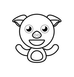 Pig animal toy outline vector