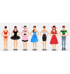 pretty girls in different wardrobe set vector image