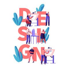 professional designer teamwork poster man woman vector image