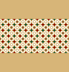 red green gold moroccan motif tile pattern vector image