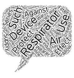 Respirators text background wordcloud concept vector