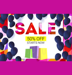 Sale banner on low poly background with inflatable vector