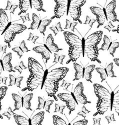 Seamless black and white butterflies background vector