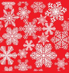 seamless pattern of various beautiful snowflakes vector image