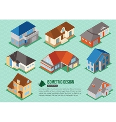 set 3d isometric private house icons for map vector image