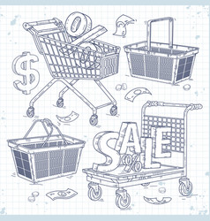 Set icons carts and baskets and inscription vector
