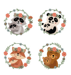 Set isolated mother and baby animals 1 vector