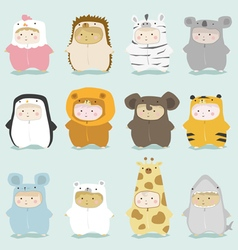 set kids in cute animal costumes 2 vector image