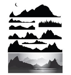 Set landscapes silhouette vector