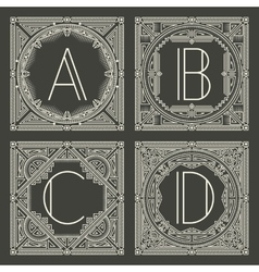 Set of floral and geometric monogram logos vector