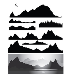 set of landscapes silhouette vector image