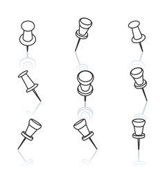 Set of pushpins vector image