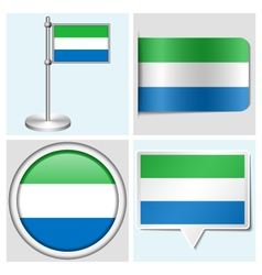 Sierra Leone flag - sticker button label vector