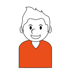 silhouette in orange and white of cartoon half vector image