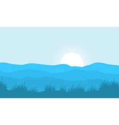 Silhouette of grass on hill backgrounds vector image