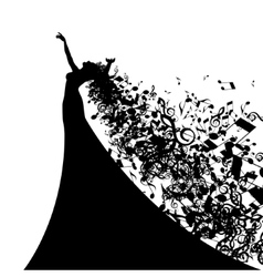 Silhouette of opera singer with long hair like vector