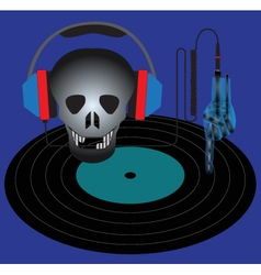 Skull with headphones and vinyl record vector