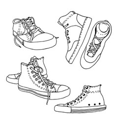 Sneakers sketch set active shoes drawing vector