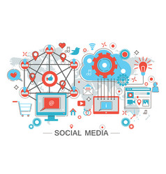 social network and social media vector image