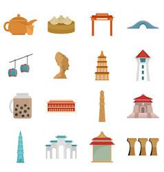 Taipei taiwan city skyline icons set flat style vector