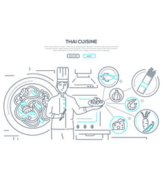 thai cuisine - line design style banner vector image
