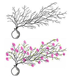 the twig in the white vase vector image