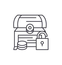 treasure chest line icon concept treasure chest vector image