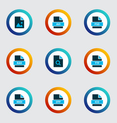 Types icons colored set with open type file rar vector