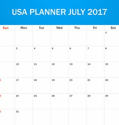 Usa planner blank for july 2017 scheduler agenda vector