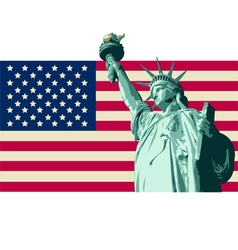 usa with statue liberty flag vector image