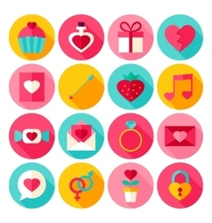 Valentine Day Flat Icons vector image