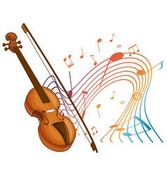 Violin classical music instrument with melody vector