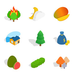 Vivacity icons set isometric style vector