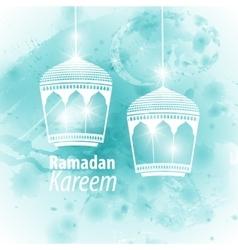 Watercolor light blue blob Ramadan kareem vector image