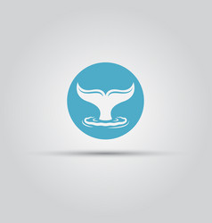 whale tail and water splash round flat icon vector image