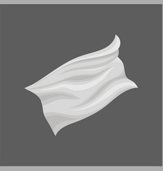 White flying cloth with gray shadows piece of vector