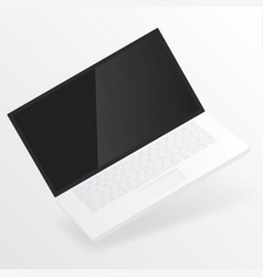 White open laptop with blank screen vector