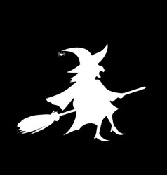 White silhouette of witch fly on broomstick vector