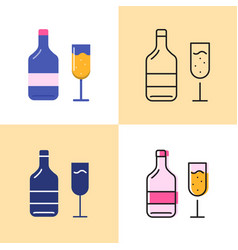 Wine bottle and glass icon set in flat and line vector