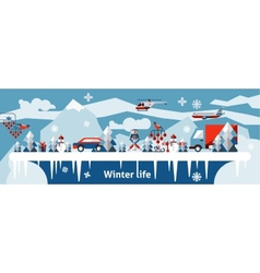 Winter life background vector image