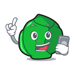 With phone brussels character cartoon style vector