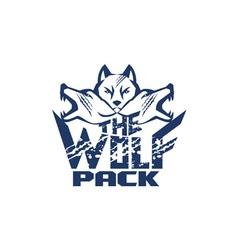 Wolf pack grunge retro vector