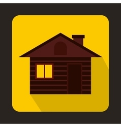 Wooden log house icon flat style vector