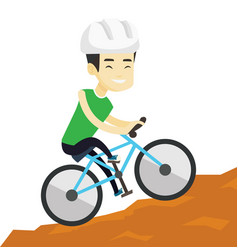 Young man on bicycle traveling in the mountains vector
