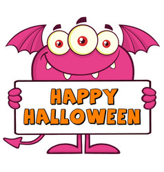 goofy pink monster holding a sign with text vector image vector image