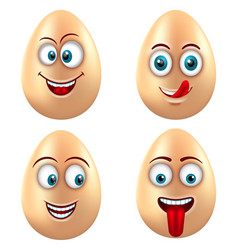 set smiling funny eggs positive emotions vector image vector image