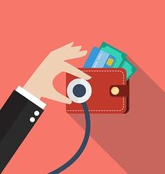 Wallet financial checkup vector image vector image
